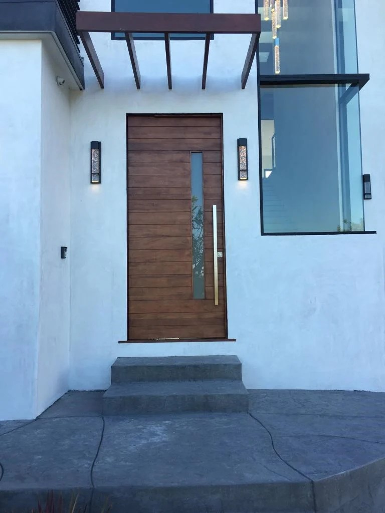 Nobu  Modern Mahogany Wood  White Laminated Glass Entry Solid Door  Lux Garage Doors