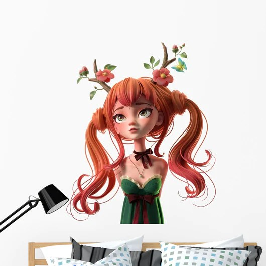 3d cartoon character red-haired