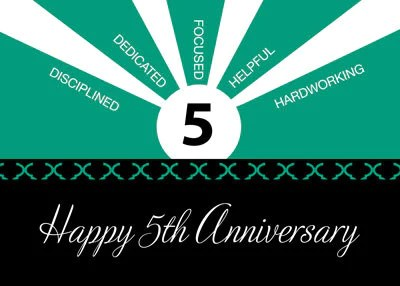 52229 Business 5 Year Employee Anniversary Green Black  Sandra Rose Designs