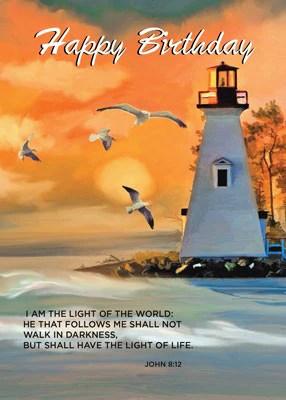 52280 Lighthouse Birthday Golden Sky Religious – Sandra