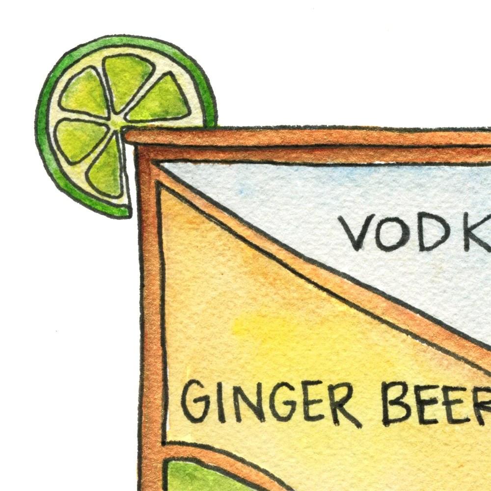 moscow mule cocktail diagram 8 5 x 11 print [ 1000 x 1000 Pixel ]