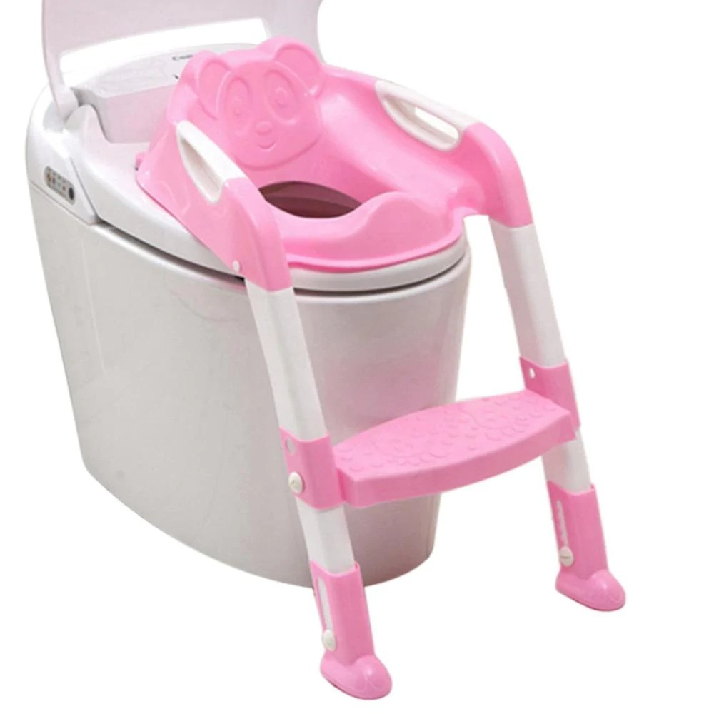 potty chair with ladder burlap sashes australia baby anti skid toilet seat safety fresh deals toddler pink