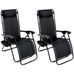 Zero Gravity Chair 2 Pack Iconic Leather Office Outdoor Lounge Patio Folding Recliner Black Felji