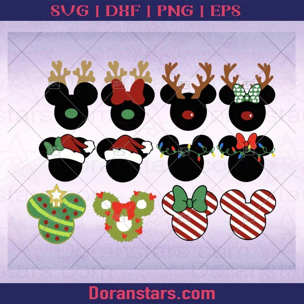 Download free disney svg files to make vacation shirts, disney decor, party supplies, mugs, and more! Bundle Svg Christmas Svg Mickey Mouse Disney Christmas Instant Dow Doranstars