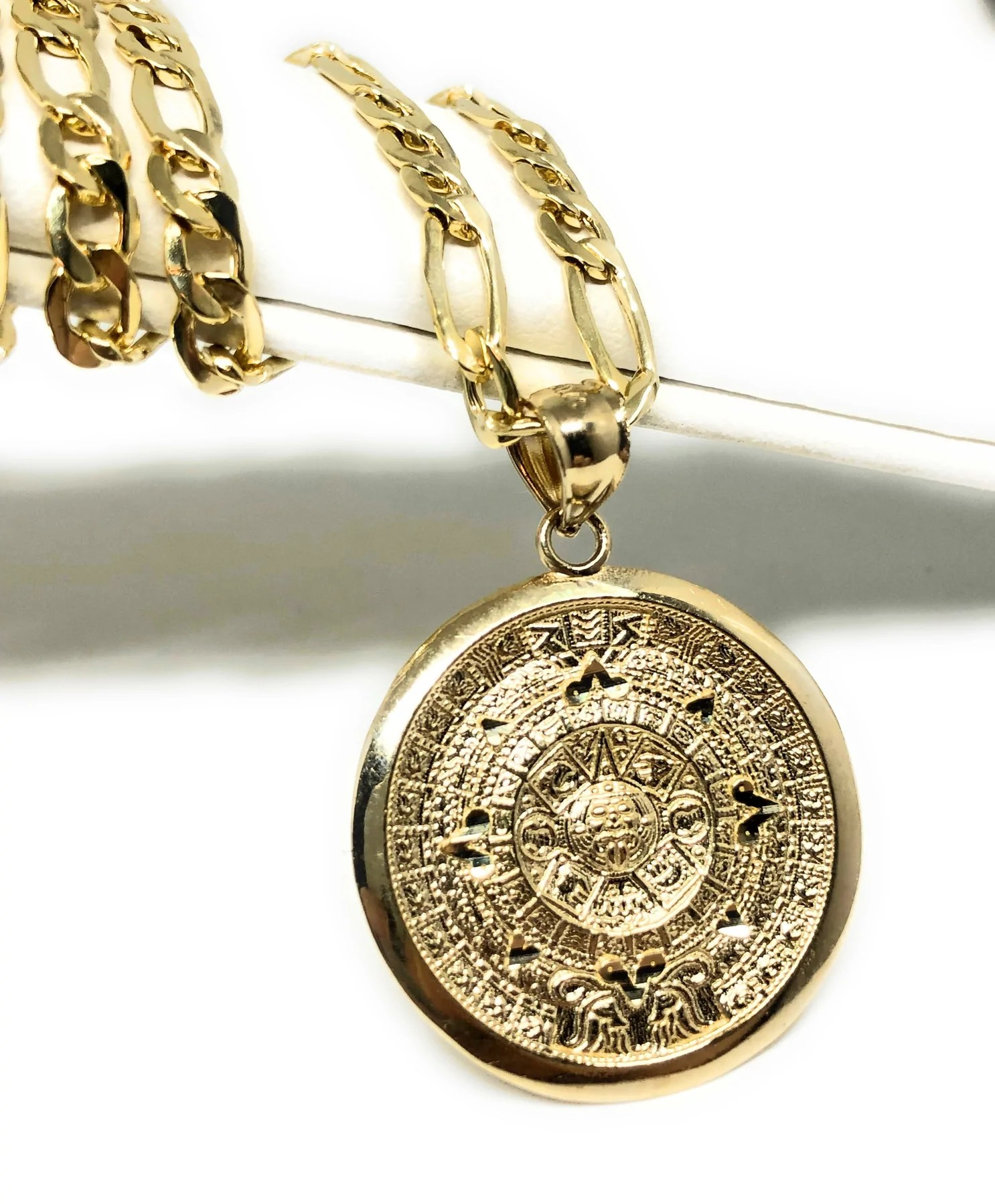 Mexican Gold Chains : mexican, chains, Solid, Yellow, Mexican, Aztec, Calendar, Pendant, Necklace, Jewelry
