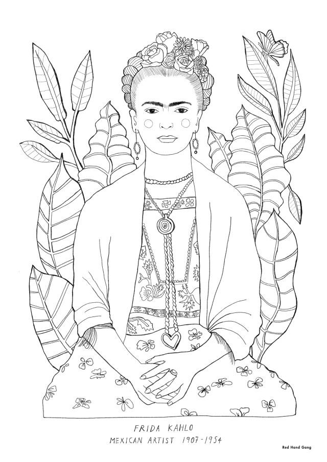 Frida Kahlo Colouring In-Sheet – Red Hand Gang