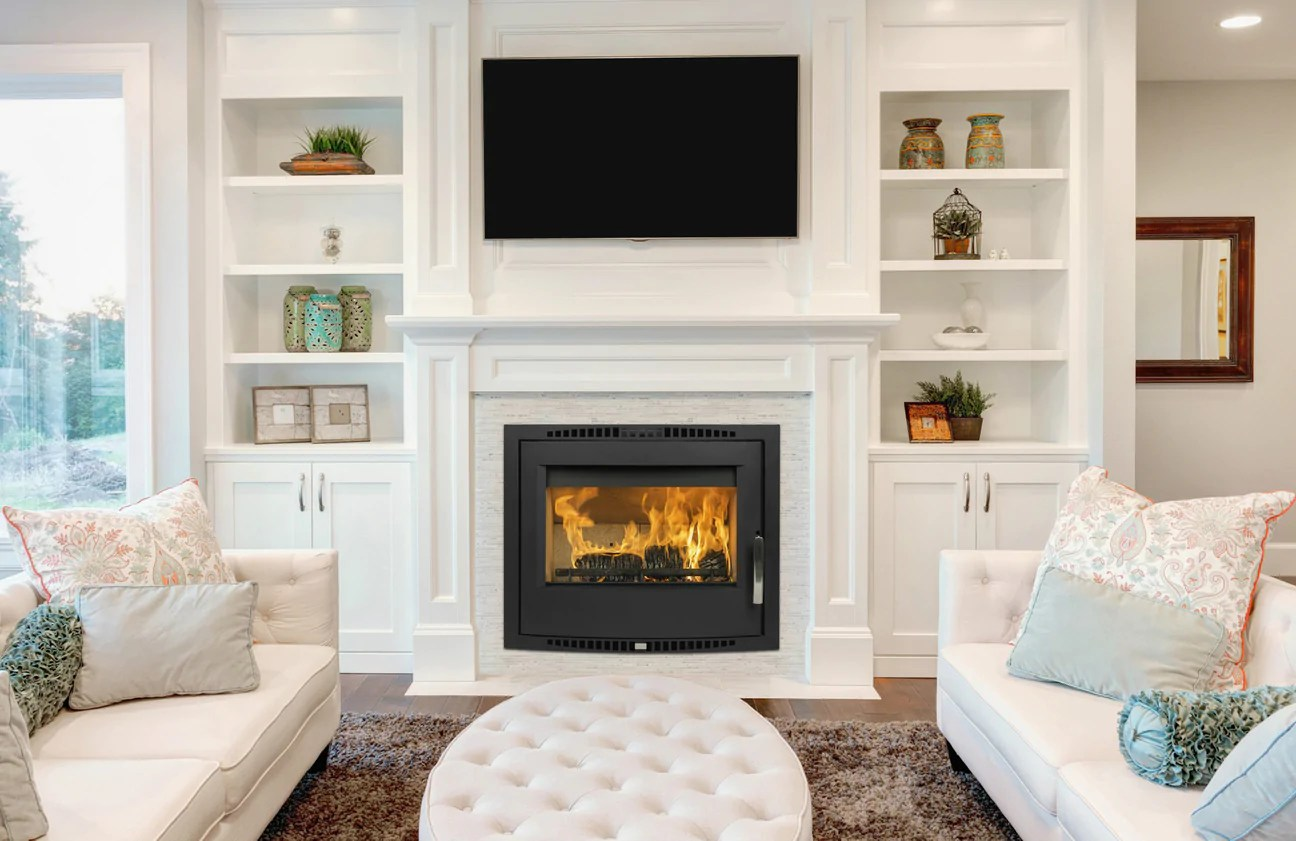 fireplace for living room peach paint color passive stove ireland eco all star heating a shannon shown in boosts high efficiency heat output