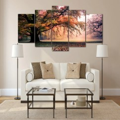 Cheap Wall Art For Living Room In Spanish Vocabulary Autumn Tree Forest Canvas Panel Print Poster Picture