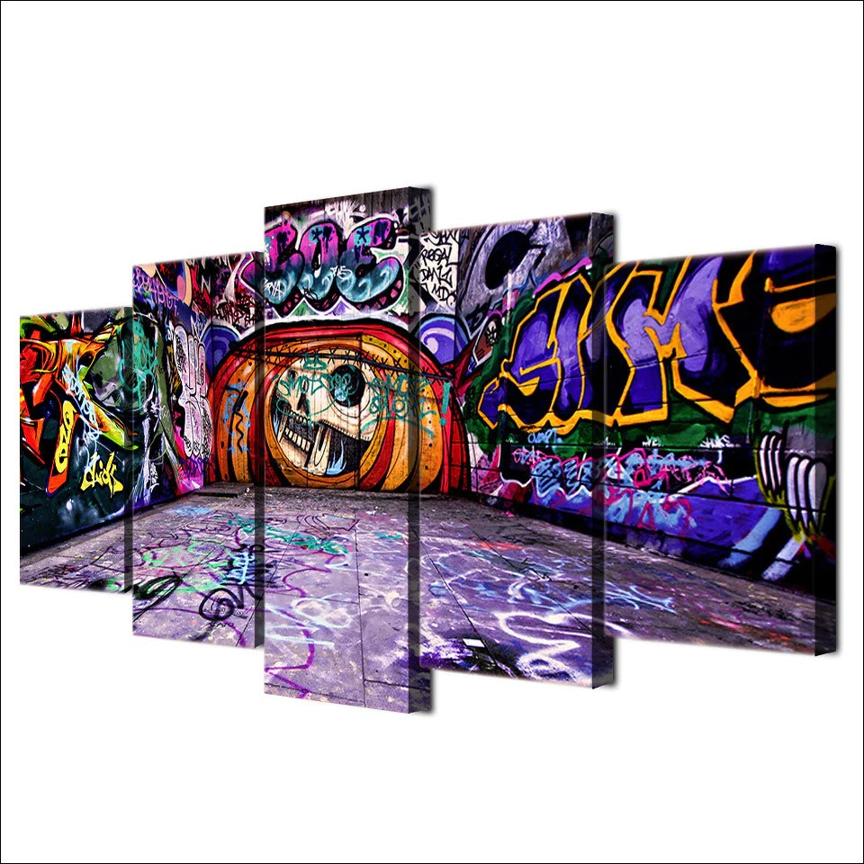 Abstract graffiti art 5 piece canvas print wall art canvas