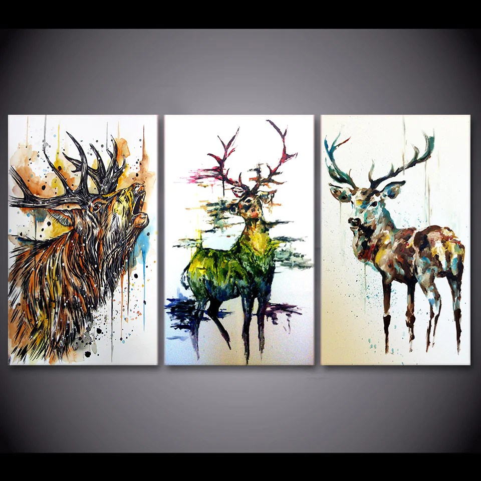 3 Piece Elk Graffiti Abstract Deer Canvas Print Living Room Wall Ash Decor