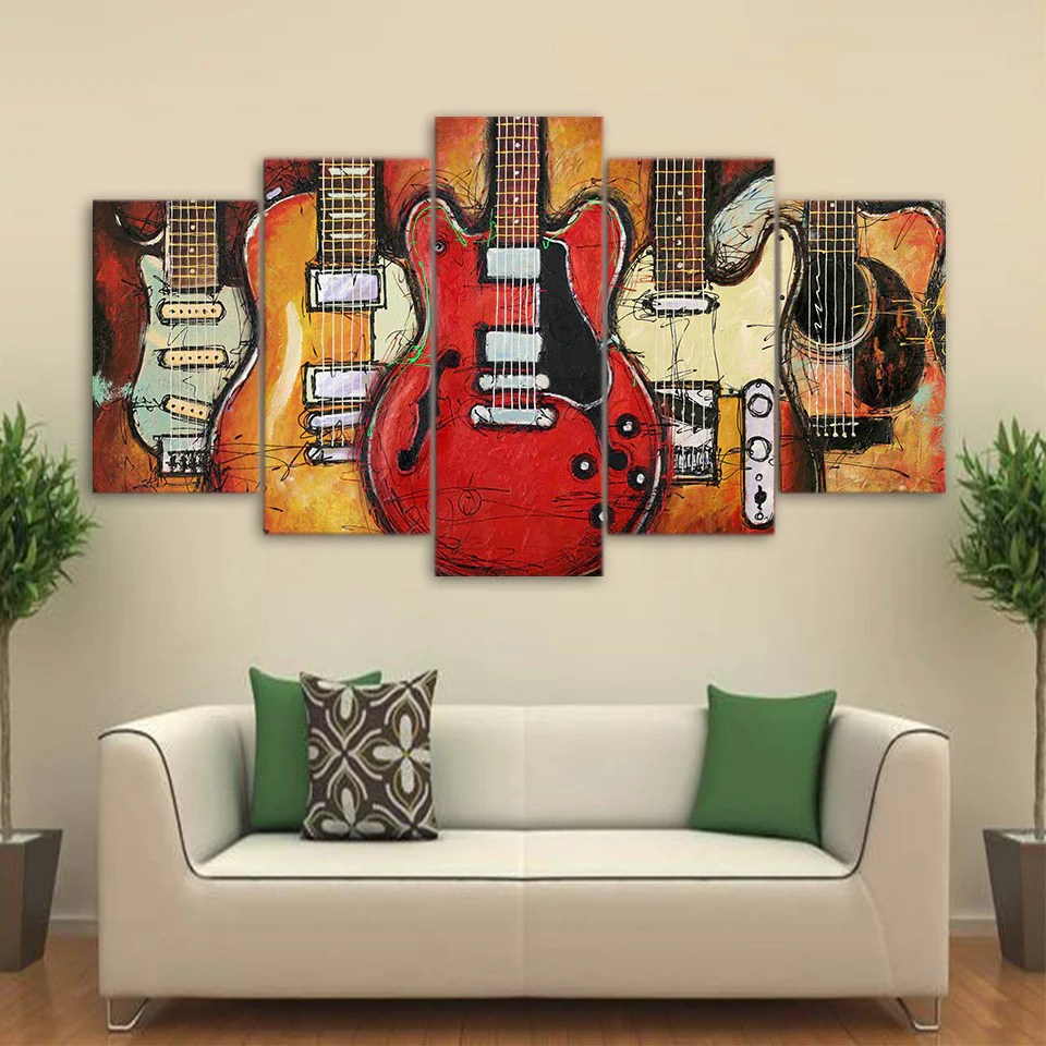 cheap wall art for living room burgundy set 5 piece guitar abstract canvas pictures bedroom prints