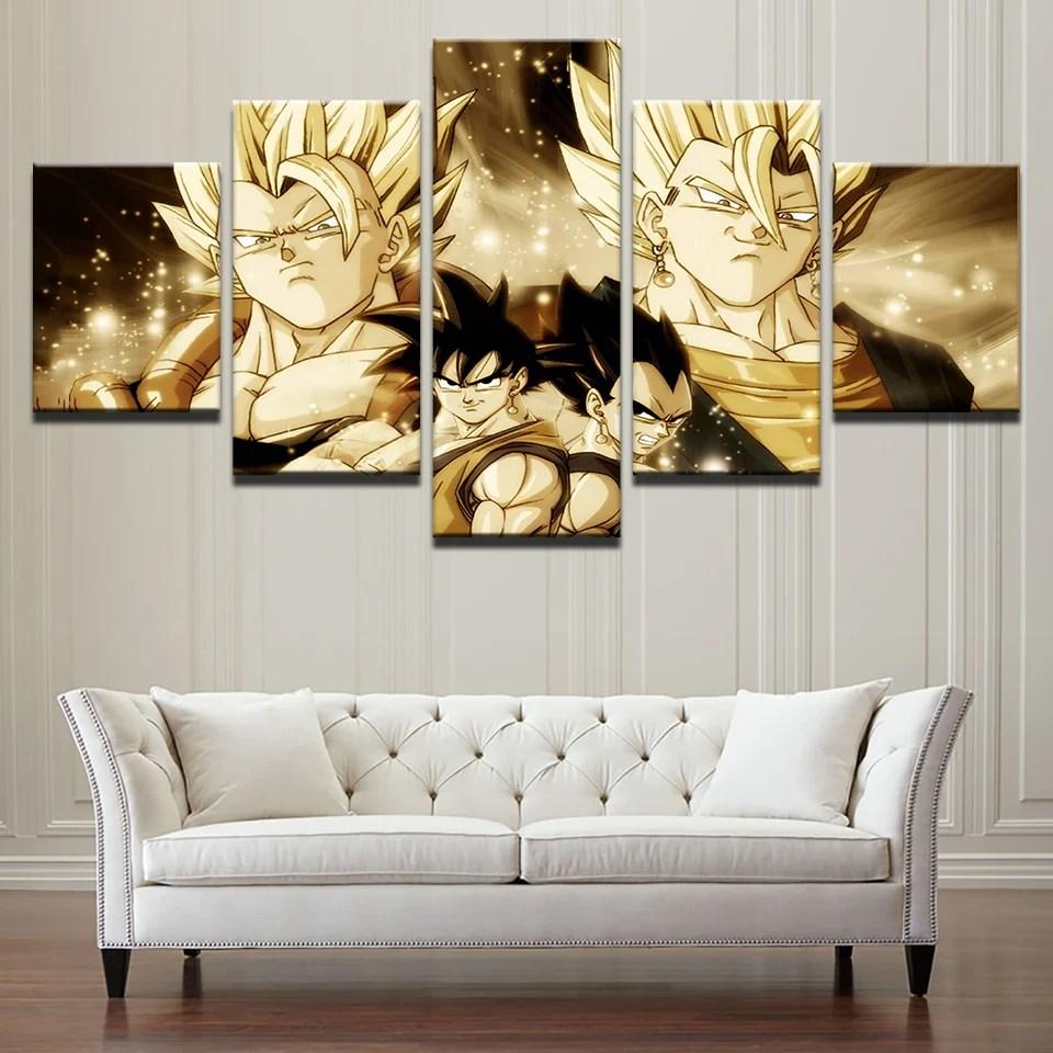 cheap wall art for living room ideas with grey sectional 5 panel dragon ball poster cartoon cuadros modular canvas