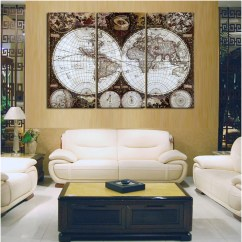 Cheap Wall Art For Living Room Furniture Ireland 3 Panel Map Canvas Print World Poster