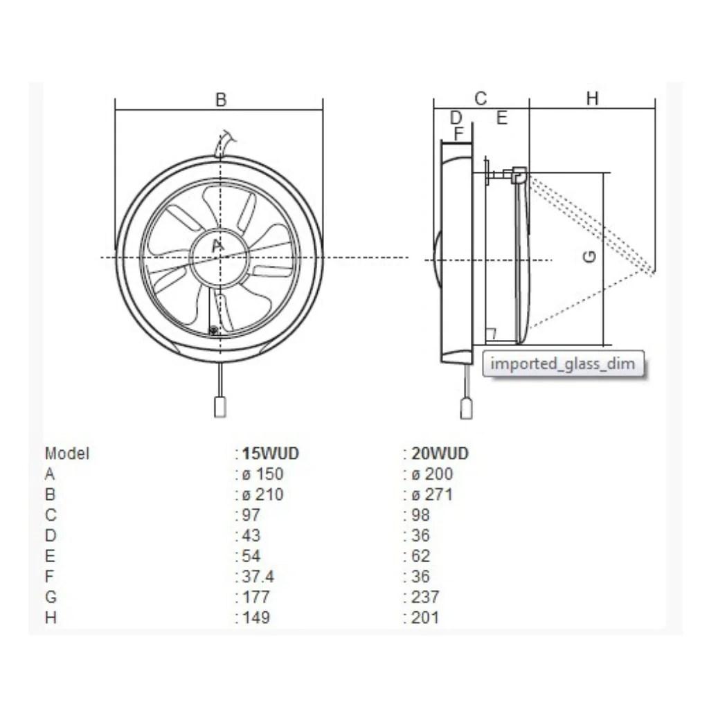kdk 15wud 15cm 6 glass mount exhaust fan