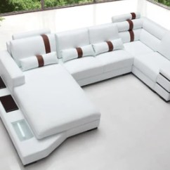 White Bonded Leather Sectional Sofa Set With Light Room To Go Sleeper Breanna Contemporary Buy 2429 In A Modern Furniture Store Fairfield Nj Casa Eleganza Mattress