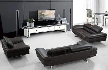 modern brown leather sofa black and grey throws andy set buy 4439 in a furniture store fairfield nj casa eleganza mattress