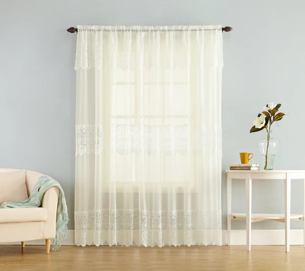 Joy Sheer Lace Panel wattached Valance  Marburn Curtains