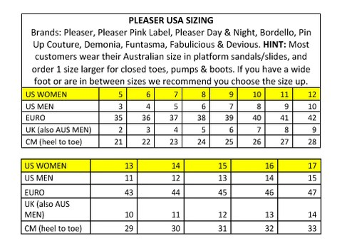 Pleaser usa size chart also charts shoe me rh shoeme
