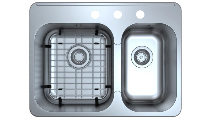 27 kitchen sink german made cabinets capri drop in 3 hole double with grid strainers ancona home