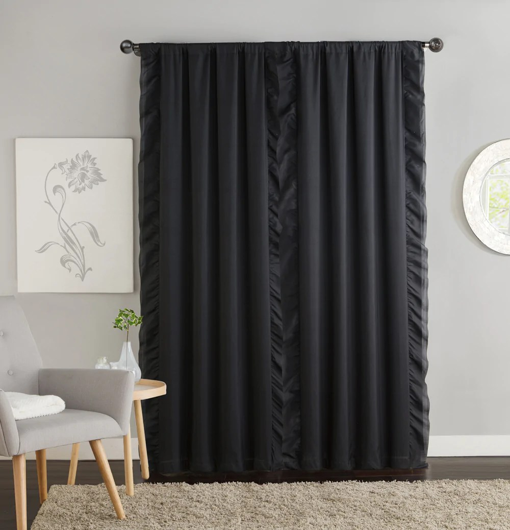 amber ruffle side blackout curtain panel pair