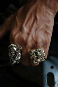 Biker Ring silver skull grim reaper Death scythe bone ...