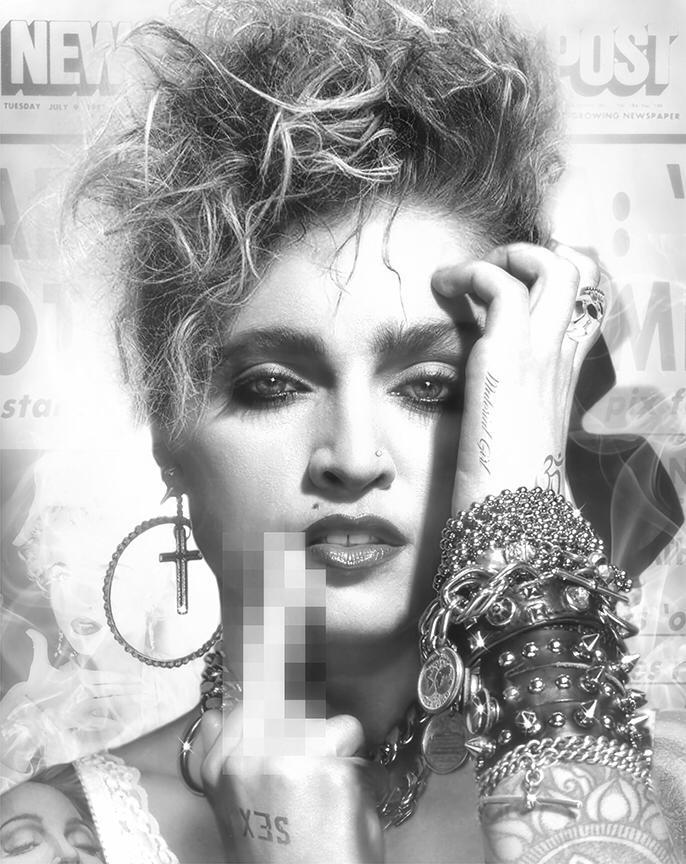 Madonna Black And White : madonna, black, white, Lucky, Madonna, (Black, White), Adams, Robertson