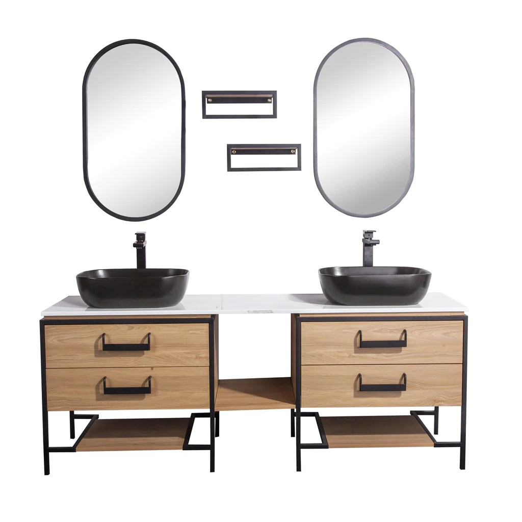 72 Double Vanity Cabinet Set Floor Mount 2 Mirror And 2 Matt Black Dax