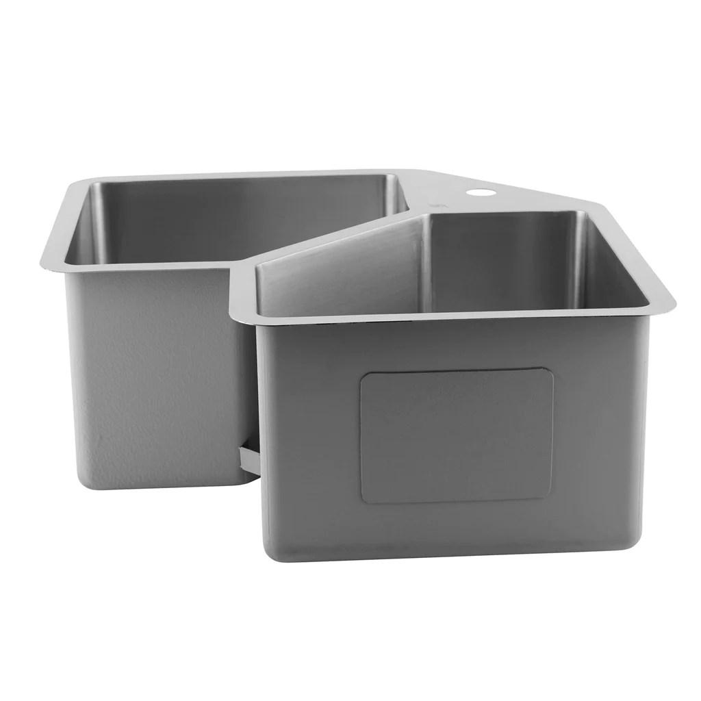 dax handmade corner double bowl undermount kitchen sink 16 gauge stainless steel brushed finish 32 3 4 x 22 3 4 x 10 inches dax 347