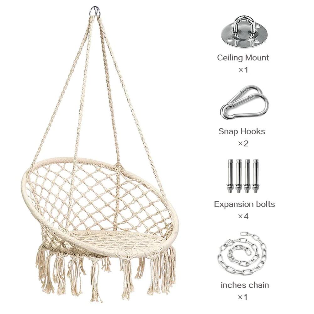 hanging chair bolt design standards macrame swing hammock fringe tassels kit outdoor indoor porch