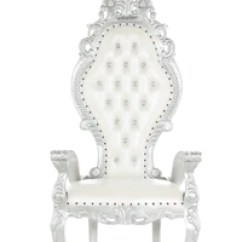 How To Make A Queen Throne Chair Swivel Parts Fiona White Silver The Kingdom
