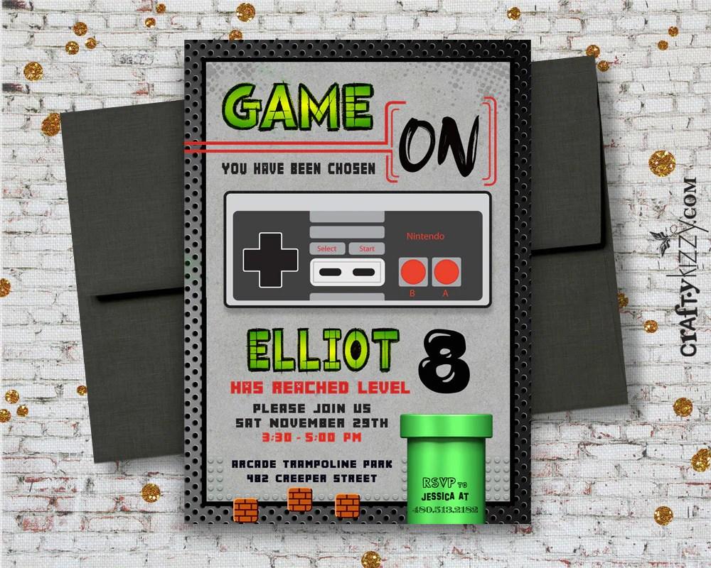 gamer birthday invitation video game party invitations gaming party arcade invite tween boy birthday invitation
