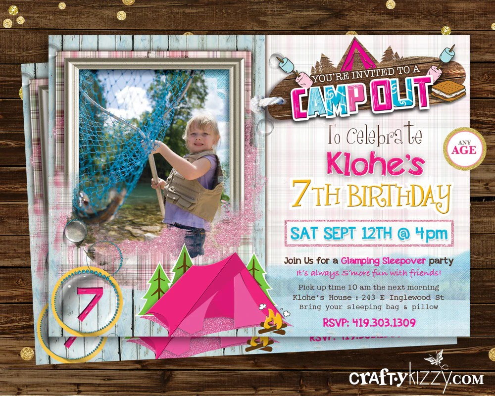 glamping camp out birthday invitation glam camping invite girl campout sleepover birthday invitation printable
