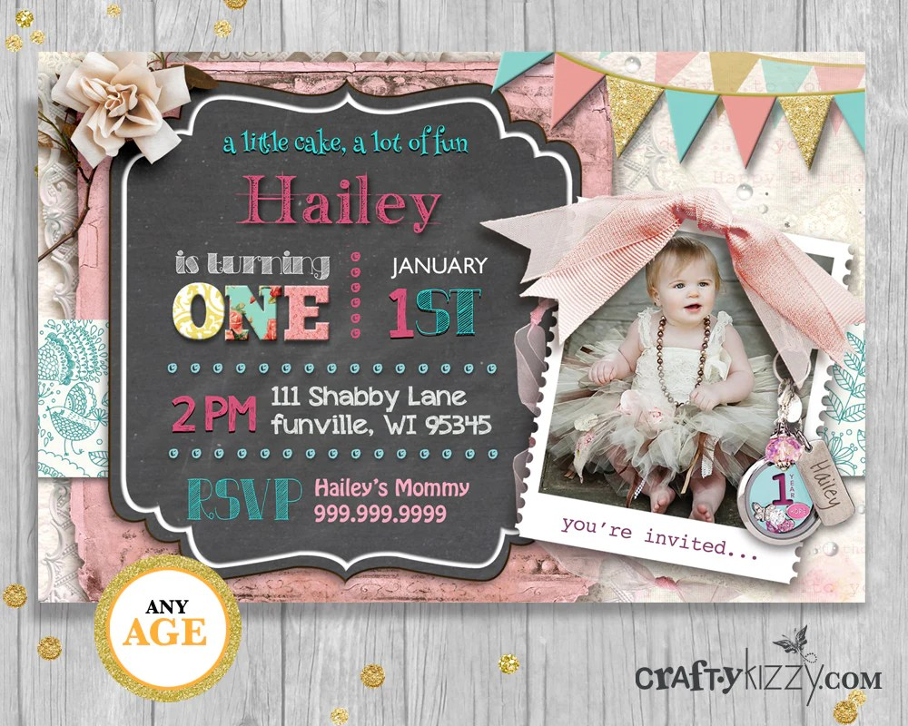 shabby chic first birthday girl invitation 1st birthday party chalkboard printable invite vintage lace floral pink invitation big one