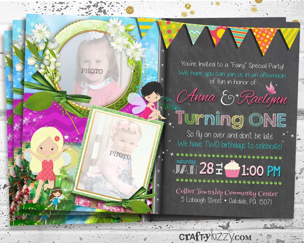 twin girl fairy birthday invitations joint first birthday party invitation whimsical siblings invite fairies birthday party pixie invitation