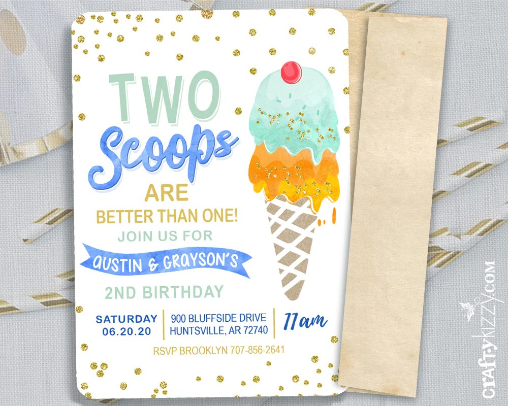 twins two scoops birthday invitations joint ice cream birthday invitation boy here s the scoop party printable blue yellow orange green