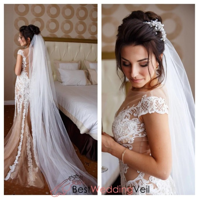 tulle fabric diamond white plain veil cathedral length