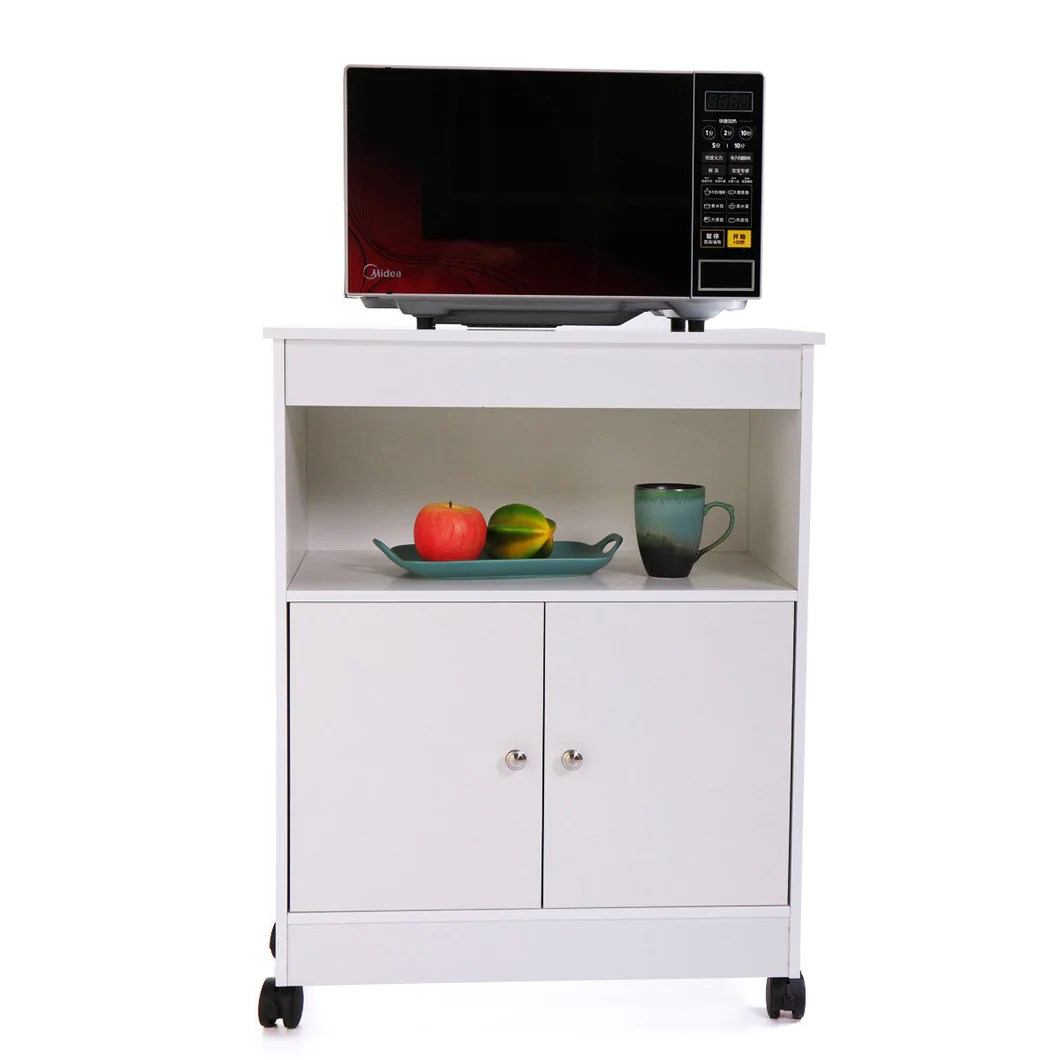 home kitchen microwave cart storage large open shelf cabinet rolling wood white