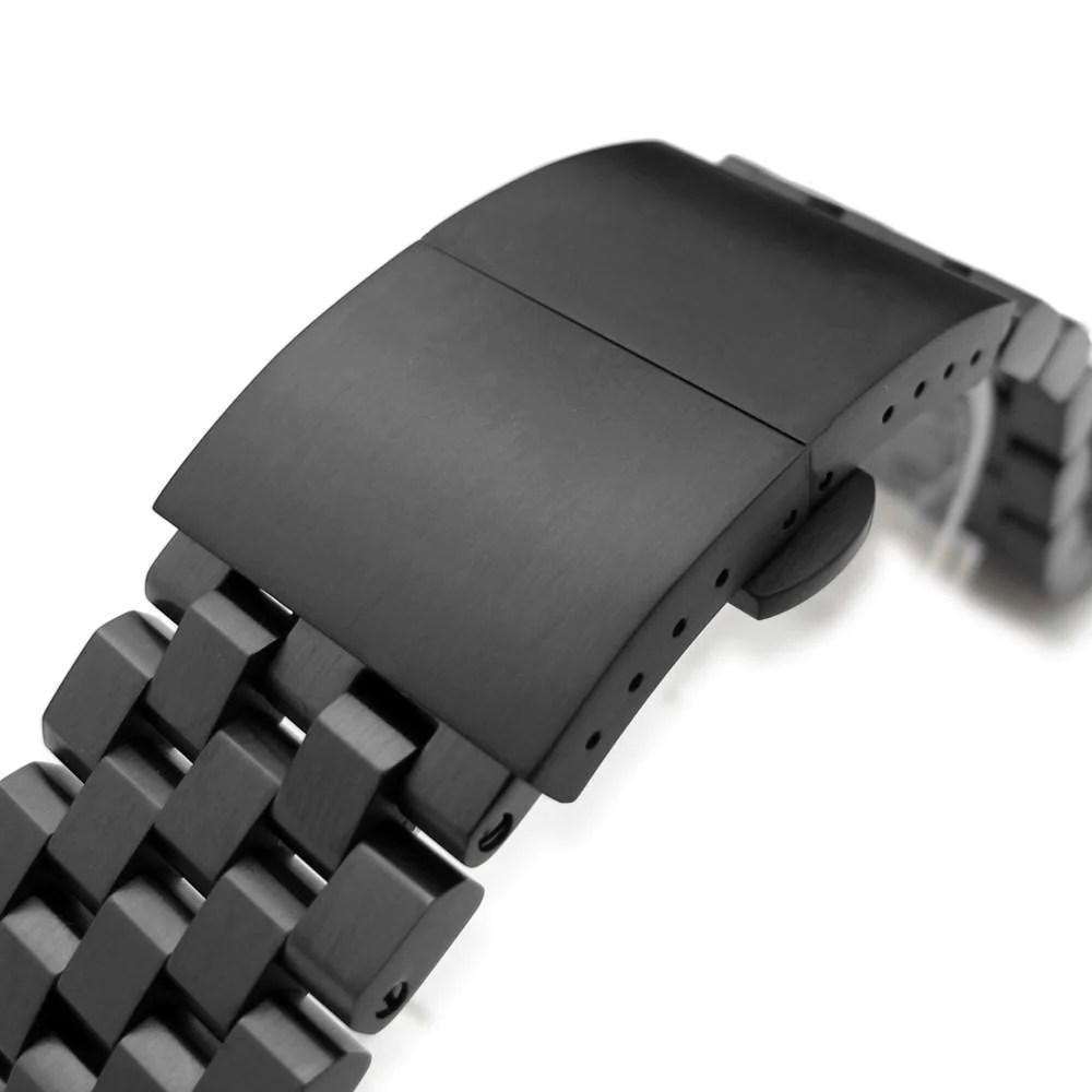 SEIKO精工Tuna鮪魚罐頭 21.5mm代用超級工程師II鋼錶帶 黑色圓頂蝴蝶 折疊扣 – 太空人腕時計TW