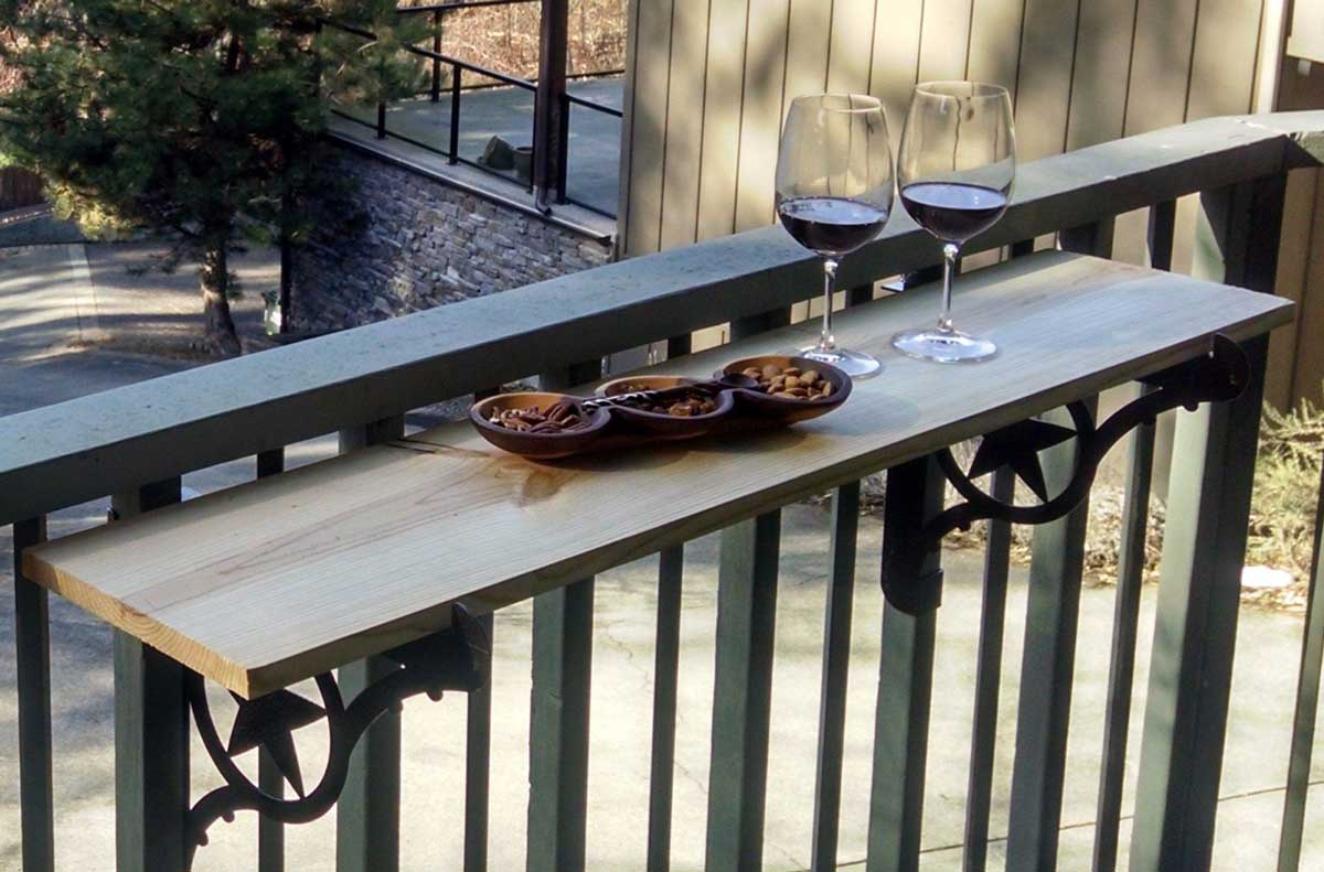 your deck railing into an outdoor bar