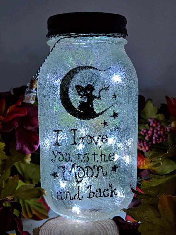 Fairy Love you to the Moon and Back Mason Jar  Catch a