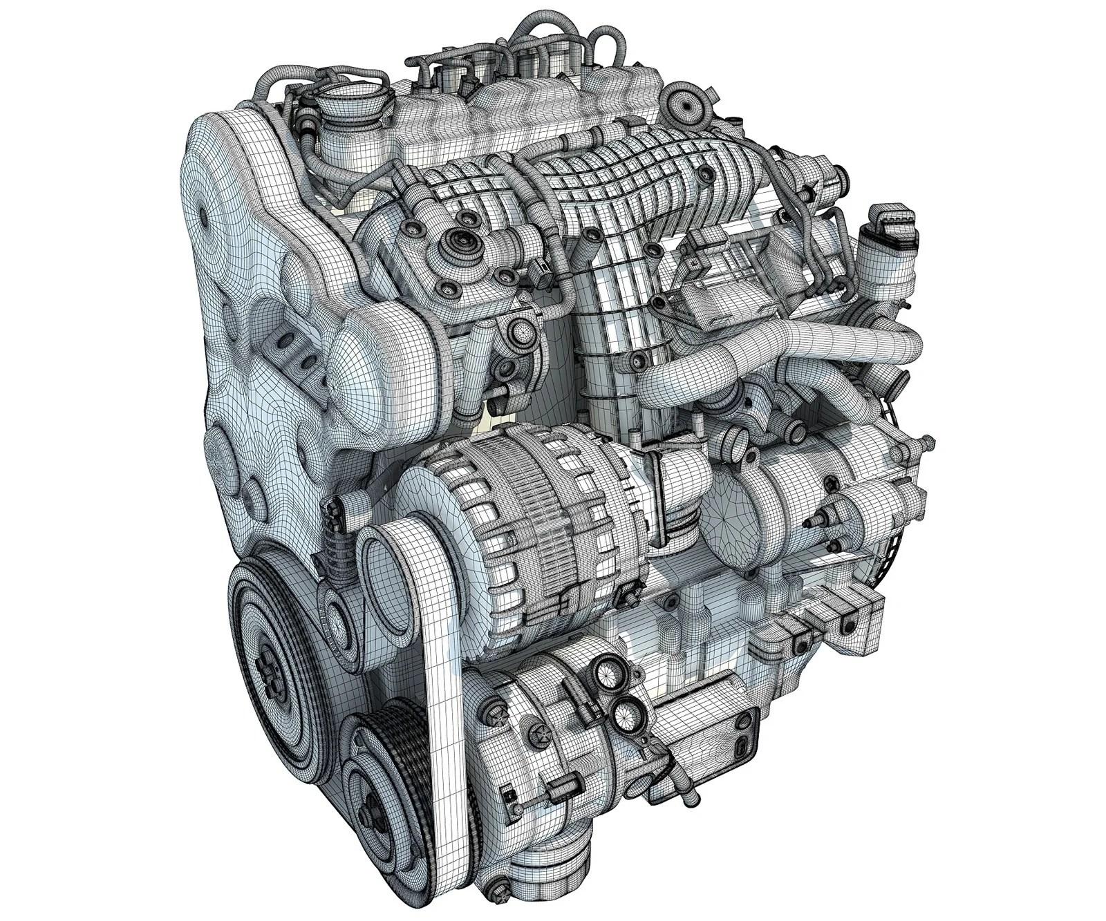 volvo engine 3d model [ 1600 x 1333 Pixel ]
