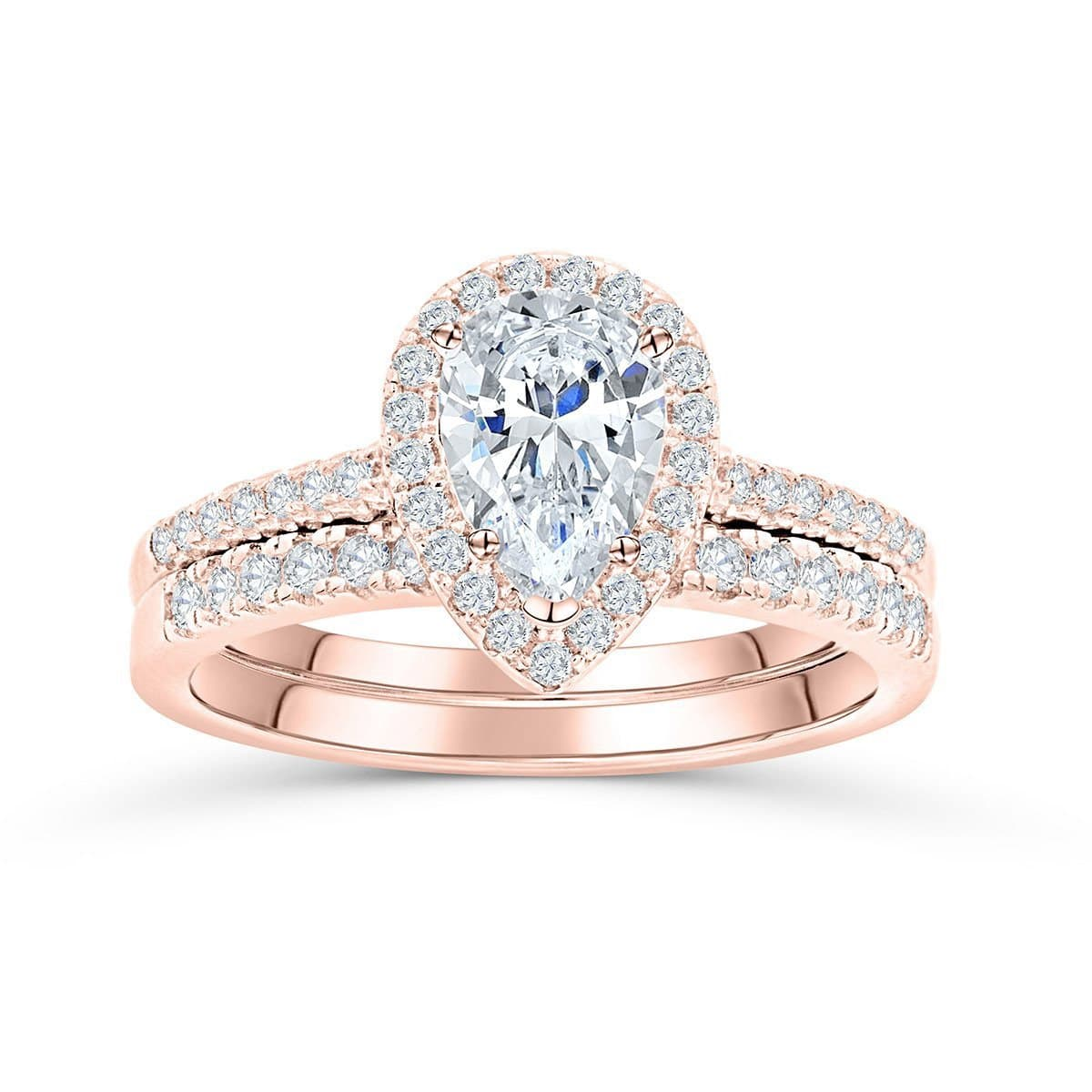 Pear Cut Halo Engagement Ring Rose Gold Halo Wedding Set Modern Gents Trading Co