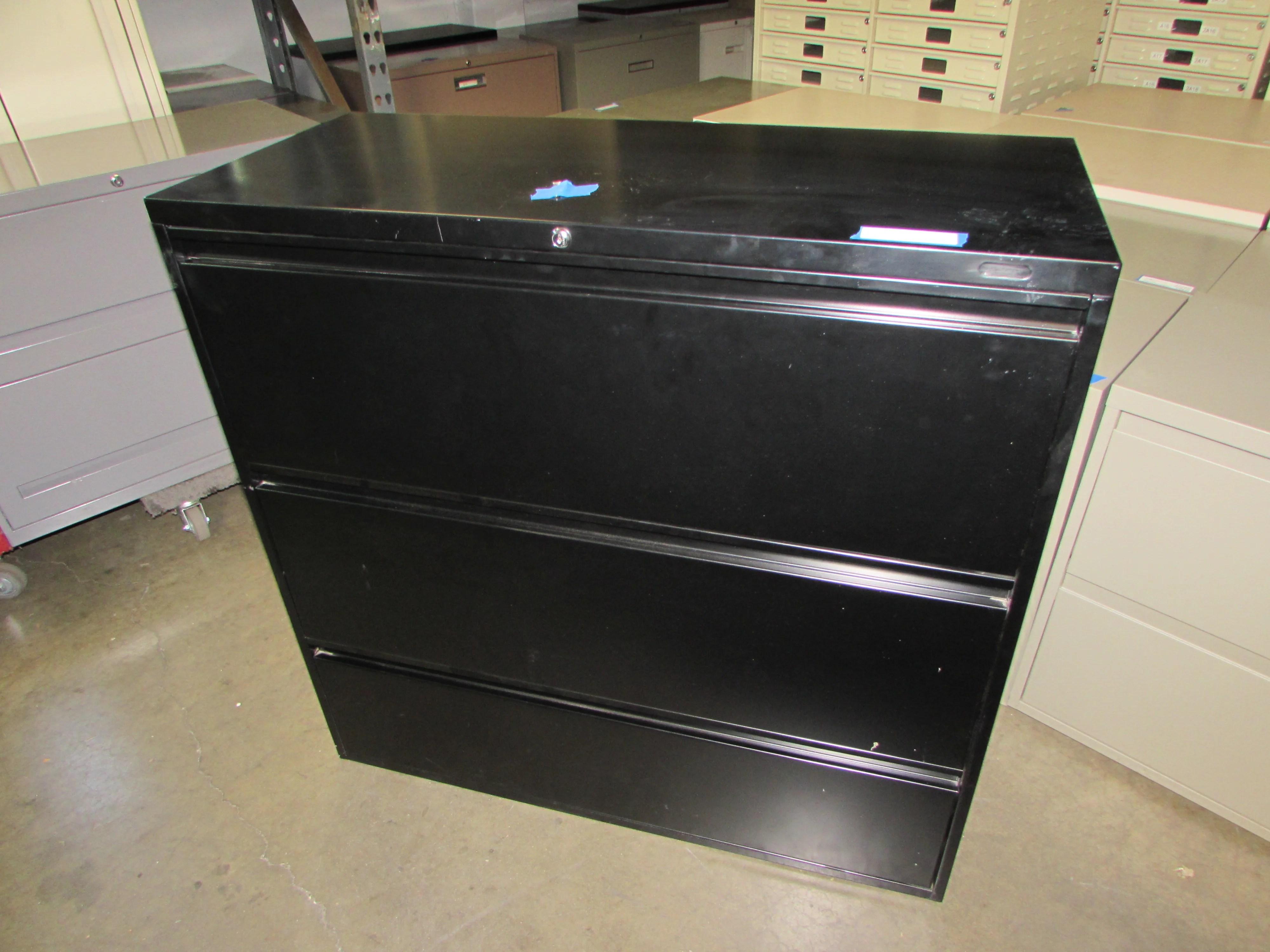 Global Locking 3 Drawer Black Lateral File Cabinet