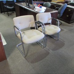 Retro Chrome Chairs Chairman En Espanol Steelcase Frame Guest Recycled Office Furnishings