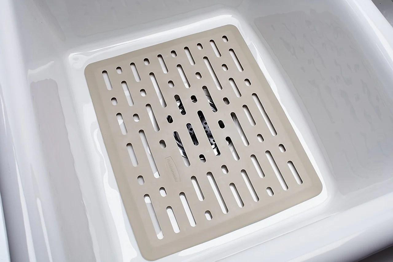 rubbermaid 1g1606bisqu enhanced microban flexible sink mat large b