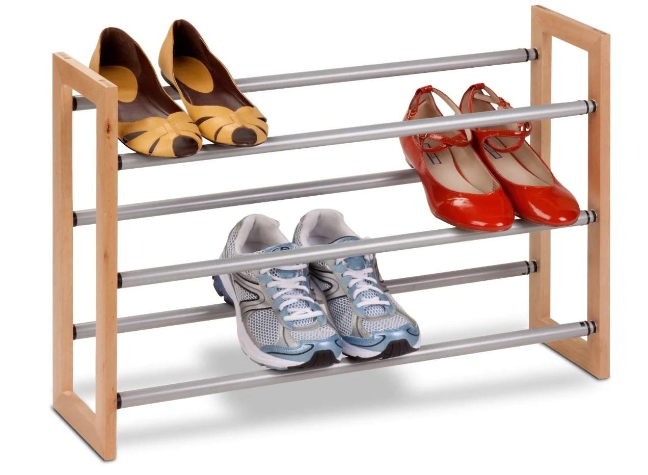 honey can do sho 01372 3 tier adjustable shoe rack wood metal