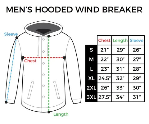 Size chart mens hooded windbreaker also inkaddict men   hoodies inspired by tattoos tagged spring rh