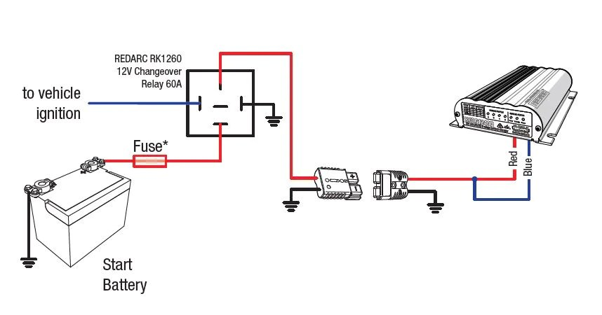 nissan navara d40 ignition wiring diagram 2001 windstar firing order faqs redarc electronics to run feed all the way unit for example if installed in a trailer following short cut using rk1260 relay kit may be used