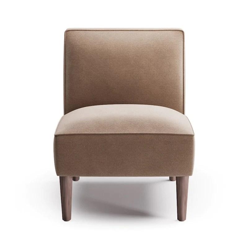 grey velvet slipper chair office new zealand the inside in sand legs