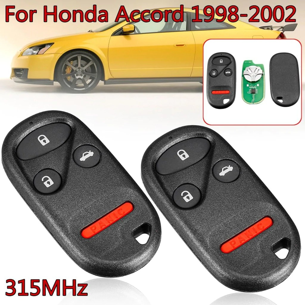 hight resolution of 2 pcs 315mhz remote key fob case shell with battery cr2016 3 1 4 buttons for honda for accord 1998 2002 kobutah2t